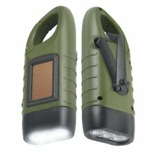 Simpeak 2 Pack Hand Crank Solar Powered and Rechargeable LED Flashlight green