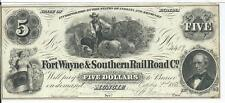 Indiana Fort Wayne & Southern Railroad Co Muncie  $5 1854 issued Scarce CU#4489