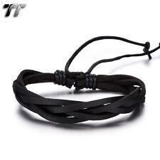 Quality TT Black Genuine Leather  Bracelet Wristband (LB316) NEW