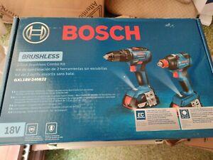 Bosch Impact Drill and Driver Set - Brushless, 18v 2x batteries gxl18v-240b22