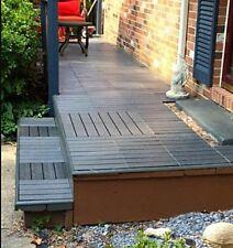 Blue/Gray Interlocking Outdoor Deck Tiles 10-Pack/6-Slat 10 SF, EZ Snap Together