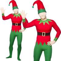 ELF SKIN SUIT CHRISTMAS COSTUME ADULTS ALL IN ONE XMAS HAT HELPER FANCY DRESS