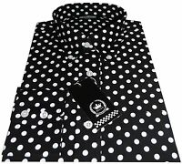 Relco Men's Black & White Polka Dot Spots Long Sleeved Button Down 60's Shirt