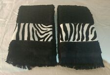 Fingertip Hand Towels 100% Cotton Black - Pair