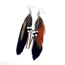 BLACK Jewellery Handmade Earrings Goose Feather Natural Drop Dangle UK