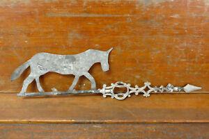 Antique Cast Iron Lightning Rod Weathervane Arrow w/ Galvanized Donkey Or Horse