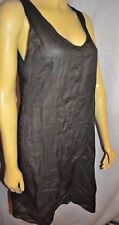 gray ramie slit strategic Gray dress Sarah Pacini size 2  ITALY tunic top