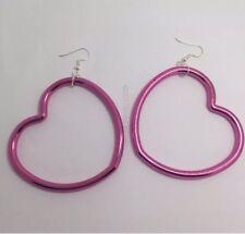 Oversized Large Pink Metallic Heart Acrylic Earrings G032 9cm Long Gold Hoop