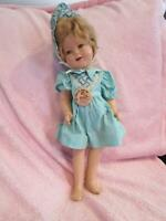 "All composition Shirley Temple doll 15"" with dress, bonnet and original pin TLC"