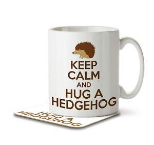 Keep Calm and Hug a Hedgehog - Mug and Coaster by Inky Penguin