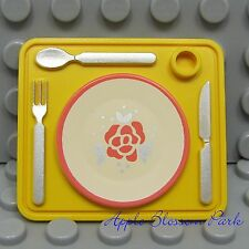 LEGO Friends Minifig PLACEMAT w/Kitchen Table Plate Knife Fork Spoon -Scala Girl
