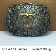 Vintage Mens Western Cowboy Texas Rodeo Initial T Steel Belt Buckle Jewelry