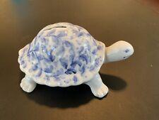 Andrea by Sadek Porcelain Handpainted Blue Turtle Piggy bank Figurine