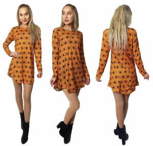 Womens Long Sleeve Spider Print Mini Swing Dress ladies Halloween Party Dress