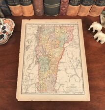 Original 1893 Antique Map Vermont Rutland Bennington Chelsea Globe Mountains