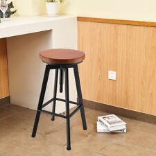 Bar Stool Industrial Metal Style Vintage Wood Adjustable Height Swivel