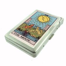 Tarot Card XVIII D20 Cigarette Case with Built in Lighter Metal Wallet The Moon