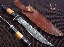"Beautiful Handmade Damascus Steel Hunting Knife""Olive Wood Handle""(4022)"