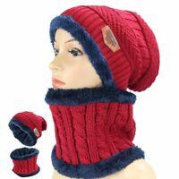 Knitted Beanie Hat 2pcs Scarf  Skull Set Men's Cap Warm  Winter