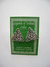 Sterling Silver Celtic Triangle Knot Irish Stud Earrings New