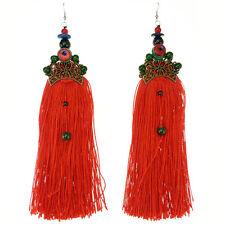 Boucles D'oreilles femme Longues Ethnique Pierre Verte fils rouge métal bronze