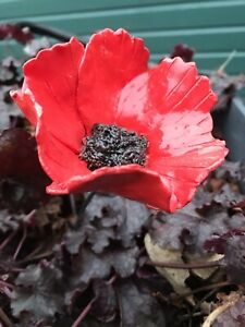 RED CERAMIC POPPY. HAND MADE.