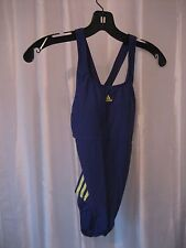 Adidas Performance Junior Size One Piece Swimsuit Bathing Suit Navy/Yellow Sz 6