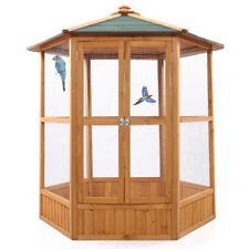 "64"" Wooden Aviary Hexagonal Flight House Cage Ideal for Birds Chipmunks Cat"
