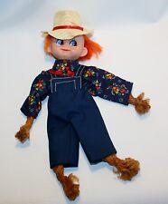 Vintage Handmade Farmer Rope Doll Overalls Big Blue Eyes Cowboy Hat Creepy Cute