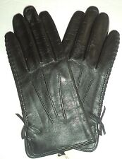 Ladies Whiplash 100% Cashmere Lined Genuine Leather Gloves , M, Black