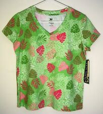 LOOK! NWT! Size PS Palm Harbour Ladies Green Print V-Neck Stretch Pullover