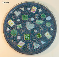 TEMPERED GLASS  MOSAIC TRAY WITH HANDMADE TILES  TR103