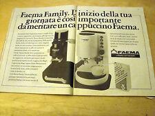 PUBBLICITA' ADVERTISING WERBUNG 1986 FAEMA FAMILY MACCHINA PER CAFFE' (G46)