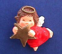 Hallmark PIN Christmas Vintage ANGEL Gold STAR & Halo Holiday Brooch