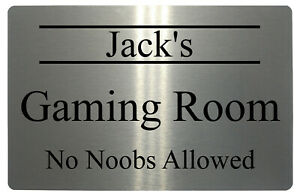 Personalised Name Gaming Room No Allowed Metal Aluminium Sign House Plaque Door
