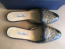 Oscar de la Renta sz 39 flat mules black leather gold decorations in box