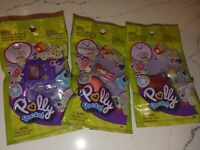 Lot of 3 Polly Pocket Tiny  Ring Necklace, game boy, bird, drink  NEW