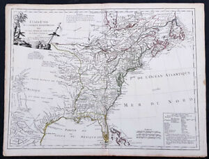 1785 De Vaugondy & Jefferson Antique 1st Map of The United States of America