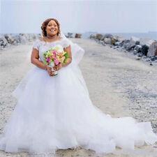 A-line Lace Cap Sleeve Plus Size Wedding Dresses