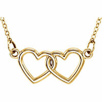"""Double Hearts 16-18"""" Adjust Chain Necklace 14K. Solid Yellow, White or Rose Gold"""