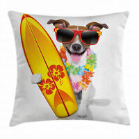 Ride The Wave Throw Pillow Case Surf Dog Glasses Square Cushion Cover 16 Inches