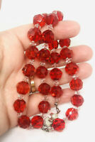 Chunky Cherry Red Faceted Glass Crystal Beaded Necklace 20 Inch Vintage Jewelry