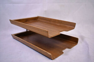 Vtg Rainbow Molded Plywood Letter Tray Double Stacking Office Desk Knoll Era MCM