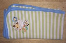 Absorba Baby Boys Blanket 123 Sheep Green Striped Blue Edge Cotton Security A