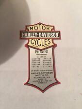 Harley Davidson Oem Nos Metal Oil Tank Decal Knucklehead Panhead Flathead
