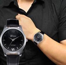 Men's: Classic, 39mm Black Dial, Silver Case Watch, Black Crocodile Effect Strap
