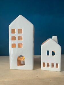 White Ceramic Tealight Houses/Holders ~ Tall house/Small House ~ Inc 4 Tealights