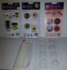 Set of 3 Wilton Halloween Chocolate Marshmellow Cookie Molds + 25 Sticks