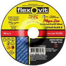 2x Flexovit MEGA-LINE STAINLESS CUT OFF DISCS 125x0.8x22.2mm *Australian Brand