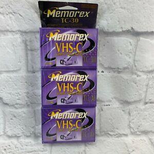 Memorex VHS-C TC-30 3 Pack Rare Vintage Release Pro High Grade Tapes Sealed NIB